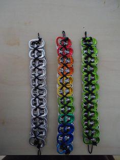 Soda-Energy Drink tab Bracelet by on DeviantArt Soda Tab Crafts, Can Tab Crafts, Fun Crafts, Tape Crafts, Niñas Monster Energy, Monster Energy Clothing, Cute Jewelry, Jewelry Crafts, Can Tab Bracelet