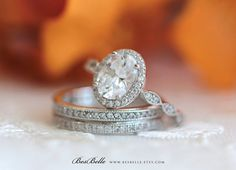 3.55 ct.tw Art Deco Ring-Art Deco Bridal Set Ring-Oval by Besbelle