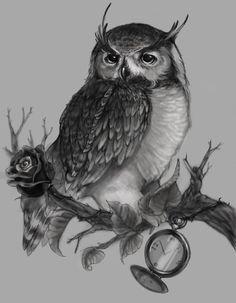 Owl Sitting On Tree Branch Tattoo Design