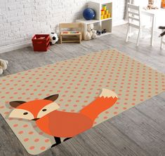Fox nursery rug, orange fox rug, brown and orange polka dot background Fox Nursery, Nursery Rugs, Animal Nursery, Woodland Nursery, Woodland Animals, Woodland Decor, Playroom Rug, Childrens Rugs, Animal Rug