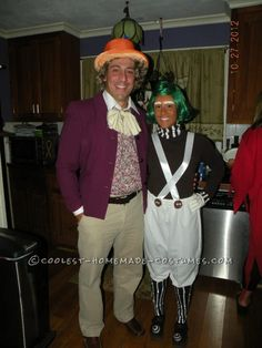 Great Homemade Halloween Couples Costume: Willy Wonka and Oompa Loompa... This website is the Pinterest of costumes