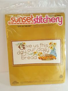 """Vintage Sunset Stitchery """"Give Us This Day"""" Thanksgiving 10x20 Crewel Embroidery #SUNSETSTITCHERY"""
