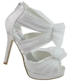 Wedding Ideas / White Satin Mesh High Heel Stiletto Strappy Sandal Wedding Shoes Bride Formal on eBay! ||