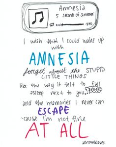 5SOS ~ Amnesia lyrics  I need a studio version and now, because this song literally makes me cry