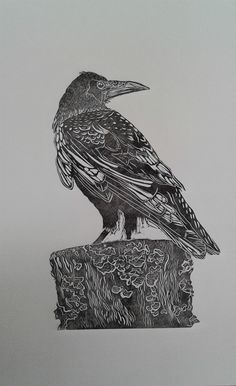 Rook linocut www.deborahvass.com https://www.etsy.com/uk/shop/DeborahVass