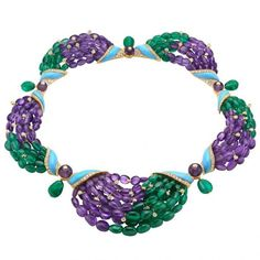 Necklace by Bulgari. Emeralds, amethysts, and turquoise. Stunning!