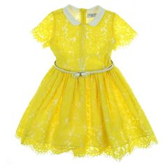 Monnalisa Girl's Yellow Dress with White Collar. Available now at www.chocolateclothing.co.uk #childrenswear #minifashion #Monnalisa #chocolateclothing