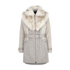 Grey padded and wool belted fur collar coat ($140) ❤ liked on Polyvore featuring outerwear, coats, buckle coats, gray coats, grey fur collar coat, grey coat and fur collar belted coat