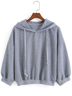 Sweat-shirt avec cordon décontracté - Gris-French SheIn(Sheinside)