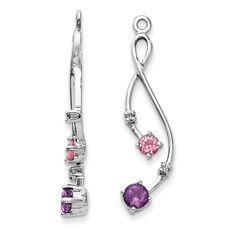 14k White Gold Diamond, Amethyst & Pink Tourm Earring Jackets
