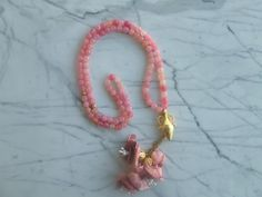 Pink 99 islamic prayer beads with pink flowers, Tasbih, Tesbih, Necklaces