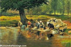 Village Paintings Women washing clothes in the river
