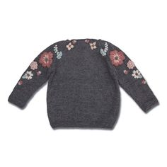 Our new beautiful Flora sweater is nothing less than a piece of art. We have worked so hard on this special embroidery. This gorgeous sweater in knitted by hand in our signature merino wool, and… Cute Sweaters, Baby Sweaters, Winter Sweaters, Knitting For Kids, Baby Knitting, Toddler Girl Outfits, Kids Outfits, Flora Dress, Cotton Sweater