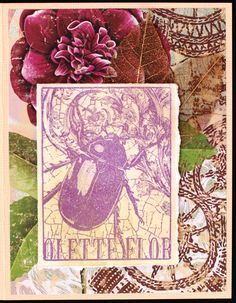https://flic.kr/p/vAtkfS | Greeting Card - Purple Beetle | Greeting card created with:  - Light tan cardstock - Recollections background paper - Torn edge white cardstock colored with various Distress Inks and stamped with beetle image - Skeleton leaves - Stamp Credit: Beetle by Magenta - Card measures 4.25 x 5.5