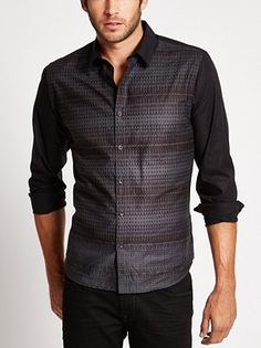Long-Sleeve Slim-Fit Abstract Pieced Shirt at Guess