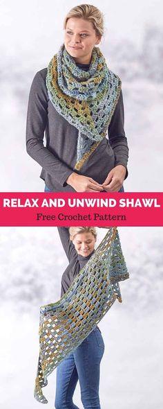 Crochet Patterns Wear Relax and Unwind Shawl free crochet pattern in Colorscape yarn. Crochet Shawls And Wraps, Crochet Scarves, Crochet Yarn, Crochet Clothes, Crochet Stitches, Crochet Hooks, Free Crochet, Sombrero A Crochet, Crochet Beanie