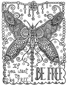 ☮ American Hippie Art ~ Coloring Page .. Butterfly - Be Free