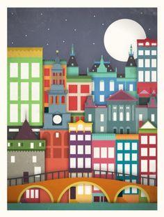 Poster Amsterdam by Moxy Creative House Cityscape Art, Urban Architecture, City Illustration, City Art, Vintage Travel Posters, Illustrations, Creative Decor, Elementary Art, Art Lessons