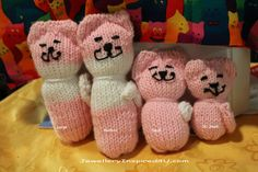 Pink and White Knitted Cat Knitted Stuffed Toys. Cat Toys. Pet Toys, Children's Toys. Knitted items. S/M/L XL by JewelleryInspired4U, $10.99 USD