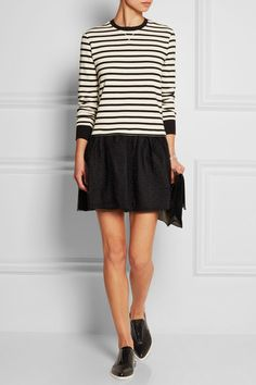 REDValentino | Striped jersey and point d'esprit tulle mini dress | NET-A-PORTER.COM