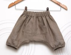 Linen boys harem shorts, grey-brown toddler sarouel, bloomers // Size US 1-6 (EU 80-116) via Etsy