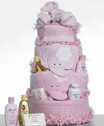 Supreme Baby Shower Diaper Cake  http://www.takeastroll.com/diapercakes1.htm