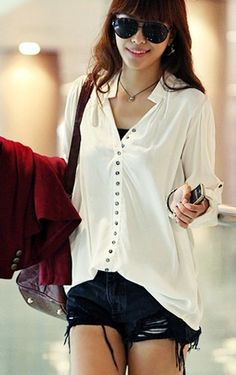 Stylish New Arrival Simple Leisure Blouse White