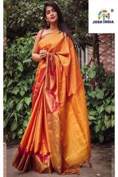 Grab and Pack Traditional Yellow Colored Wedding Muslin Silk Saree Raw Silk Saree, Tussar Silk Saree, Soft Silk Sarees, Orange Saree, Yellow Saree, Ghaghra Choli, Saree Blouse, Sari Dress, Indian Lehenga