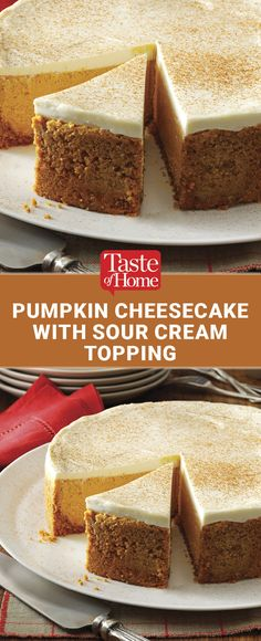 Pumpkin Cheesecake with Sour Cream Topping Recipe from Taste of Home Sour Cream Cheesecake, Pumpkin Cheesecake, Taste Of Home Cheesecake Recipe, Mini Cakes, Cupcake Cakes, Cupcakes, Just Desserts, Dessert Recipes, Fall Desserts