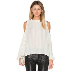 BLAQUE LABEL Pleated Blouse ($140) ❤ liked on Polyvore featuring tops, blouses, pleated blouse, open shoulder blouse, sheer white blouse, see through blouse and cold shoulder tops
