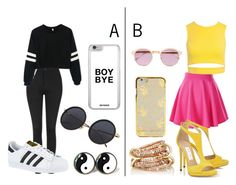 """""""A or B ?"""" by pamela-m-z on Polyvore featuring moda, Topshop, adidas, Sans Souci, Sheriff&Cherry y SPINELLI KILCOLLIN"""