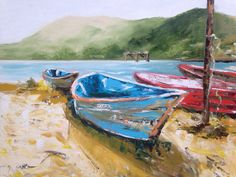 Original oil painting  boats in the harbor  by EmmalouiseBell