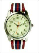 TOKYObay Team - Women's (Red) Tokyo Bay. $80.00. Unisex appeal. Full 12 hour number dial with second index notches. Colorful nylon striped band. Sporty striped band with functional dial.. Genuine leather backing
