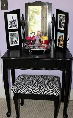 vanity table makeover, bedroom ideas, painted furniture, My teen daughter has a purple n black room so we painted it black Teen Girl Bedrooms, Teen Bedroom, Dream Bedroom, Bedroom Decor, Bedroom Ideas, Zebra Bedrooms, Bedroom Stuff, Dream Rooms, My New Room