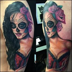 @josegonzaleztattoo @christymack catrina (tattoo in progress) at @inkintattoo. Sponsored by @killerinktattoo @radiantcolorsink @dermalizepro