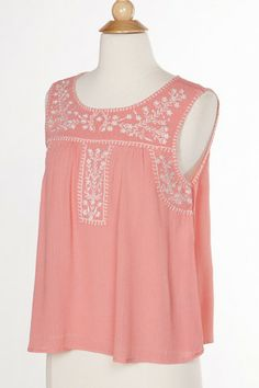 Tori Embroidered Blouse | White Plum #coral #yellow #embroidered