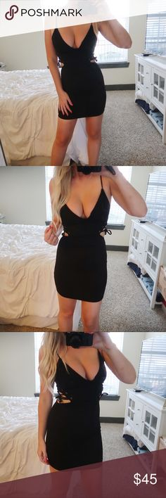 💋Lace Up Side Dress: BLACK 💋All the heart eyes for this dress😍 With its plunging v neckline and cutout accent detail we just have one word: OBSESSED.  Sizing: S 0-2  M 4-6  L 6-8  ▪️Sexy figure hugging bodycon  ▪️Spaghetti straps ft a lace up side detail with ribbon ties ▪️Color is a black ▪️Material: Polyester & Spandex  ▪️**All Boutique Items are BRAND NEW/UNWORN**                      •p r i c e  f i r m• •s m o k e  f r e e / p e t  f r e e  h o m e•   •s a m e / n e x t  d a y  s h i…