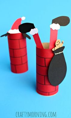 Santa Going Down a Toilet Paper Roll Chimney - Toilet Paper Roll Crafts For Kids Christmas Arts And Crafts, Preschool Christmas, Christmas Activities, Christmas Projects, Kids Christmas, Holiday Crafts, Holiday Fun, Activities For Kids, Christmas Decorations