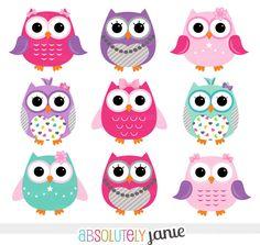 Chica rosa púrpura buhos Digital Clipart por AbsolutelyJanie