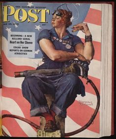 "Norman Rockwell's image of ""Rosie the Riveter"" received mass distribution on the cover of the Saturday Evening Post on Memorial Day, May 29, 1943. Rockwell's illustration features a brawny woman taking her lunch break with a rivet gun on her lap and beneath her Penny loafer a copy of Hitler's manifesto, Mein Kampf."