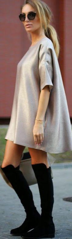 Just Paul Blush Satin Mini Tunic Dress