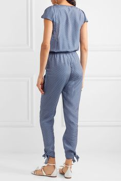 Paloma Blue - Manhattan Embellished Printed Silk Crepe De Chine Jumpsuit - Navy - medium