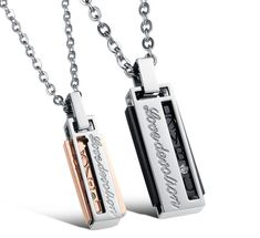 MoAndy Stainless Steel Men,Womens CZ Feather Love Valentines Day Pendant Necklaces