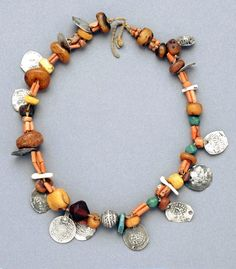Morocco | Necklace; silver, coral, amber, metal | African Museum (Belgium) Collection; acquired 1992