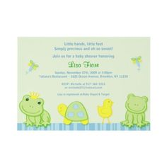 This one is my favorite because it matches the nursery theme and colors. Plus I can make the font Pink. My only worry is it's not girly enough.    Froggy Tales Frog Custom Baby Shower Invitations by little_prints