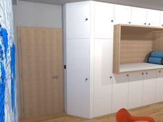 Dětský pokoj pro malého technika – RD Moravičany   očkodesign Tall Cabinet Storage, Kids Room, Furniture, Home Decor, Room Kids, Decoration Home, Room Decor, Child Room, Kid Rooms