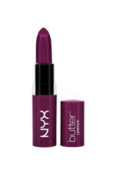 NYX Butter Lipstick in the color Hunk: a really awesome purple-berry color that actually leaves a nice slight stain behind.