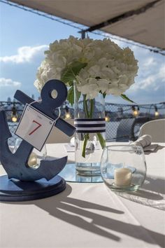 24 Nautical Wedding Ideas to Rock Your Big Day - - Nautical Centerpieces by Pom Pom Planning Nautical Bridal Showers, Nautical Wedding Theme, Nautical Decor Party, Anchor Wedding Decorations, Nautical Theme Baby Shower, Nautical Baptism, Baby Shower Themes, Baby Boy Shower, Deco Theme Marin