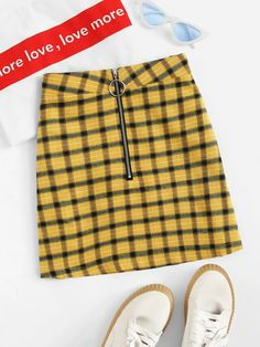 Shop Tartan Plaid Zip Front Skirt at ROMWE, discover more fashion styles online. Cheap Skirts, Skirts For Sale, Short Skirts, Mini Skirts, Plaid Skirts, Pop Fashion, Fashion News, Street Fashion, Romwe