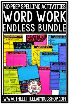 You will love using this endless print and go packet of Word Work Activities for any word list . Easily fits in Literacy Centers, Center small group, or spelling homework activities! Word Work activities for any lists. Perfect for 2nd grade, 3rd grade, 4th grade, and home school classrooms. #wordworkactivities #wordworkworksheets #spellingactivities